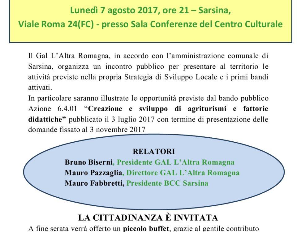 Locandina Incontro pubblico Sarsina -7 agosto 2017