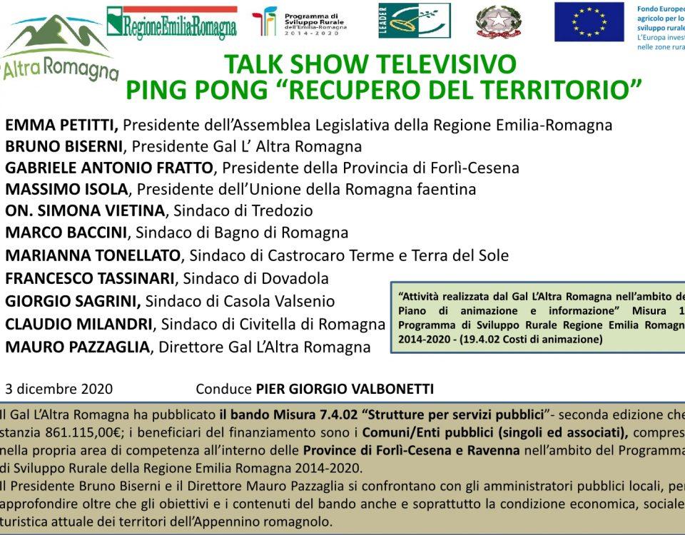 locandina talk show tv Recupero del territorio1